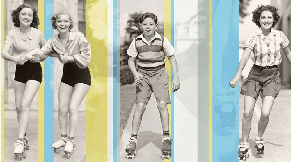 Detailed view of a photographic collage featuring bright colors and vintage rollerskaters.