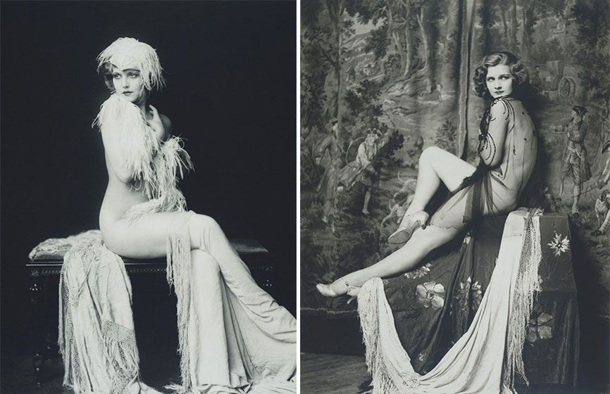 two vintage photographs of Ziegfeld girls, Drucilla Strain and Claudia Dell posing