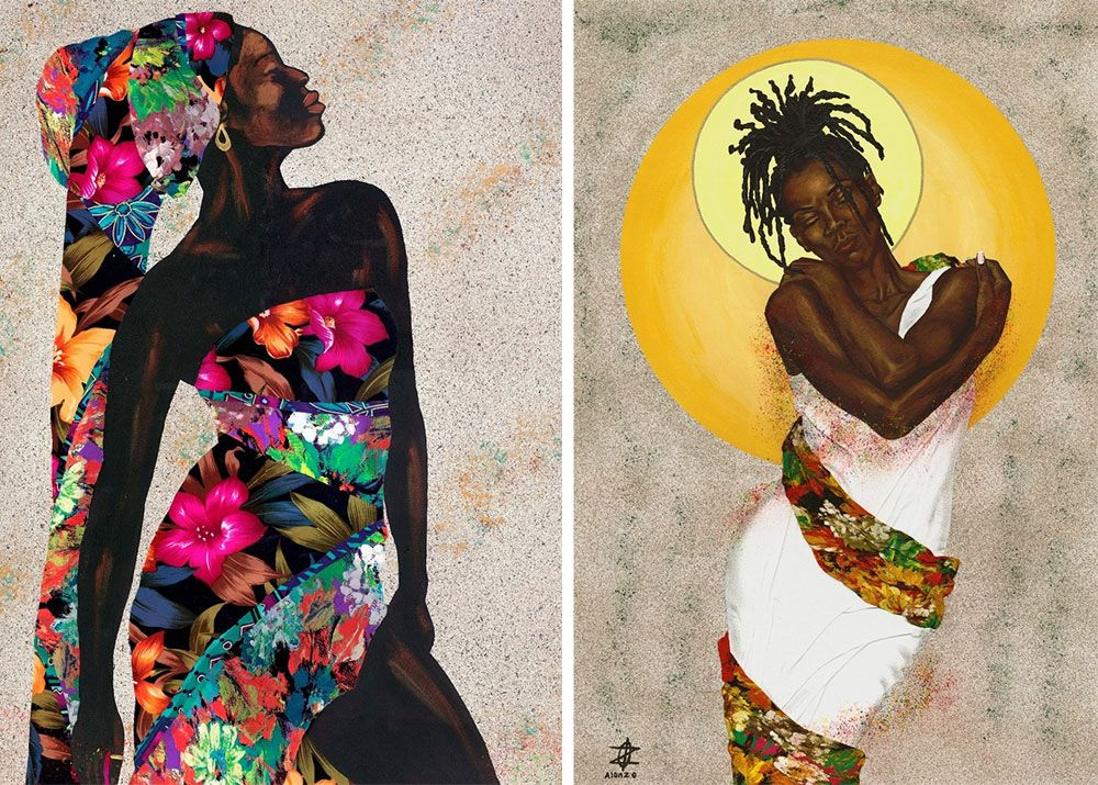 Side by side mixed media collage and digital paintings of Black women in colorful floral prints