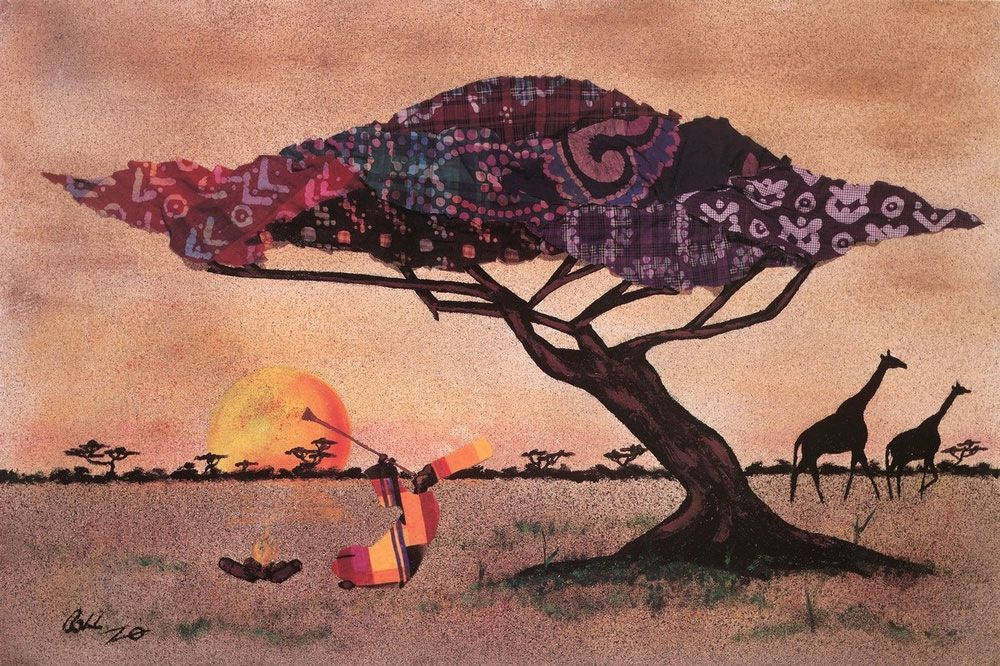 collaged scene of African plains made with scans of mud cloth