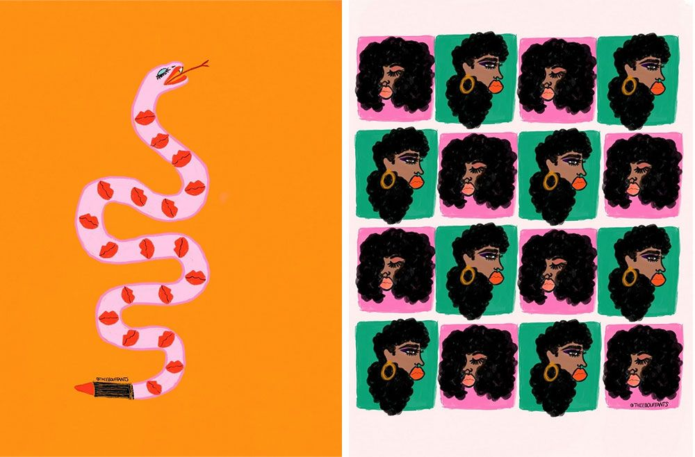 side by side brightly colored acrylic paintings depicting a snake with lips and a collage of alternating portraits