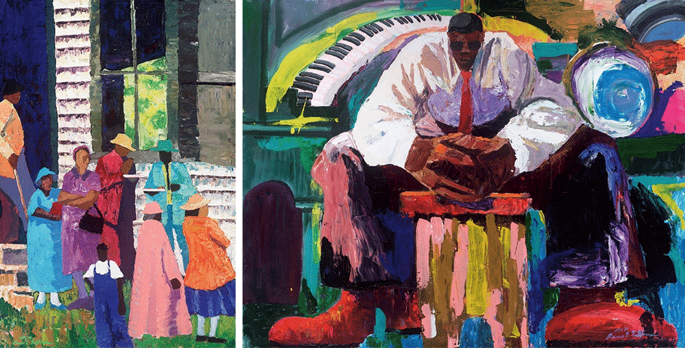 Painterly artwork by Dane Tilghman. Left: families outside of a church Right: musician waiting before his performance