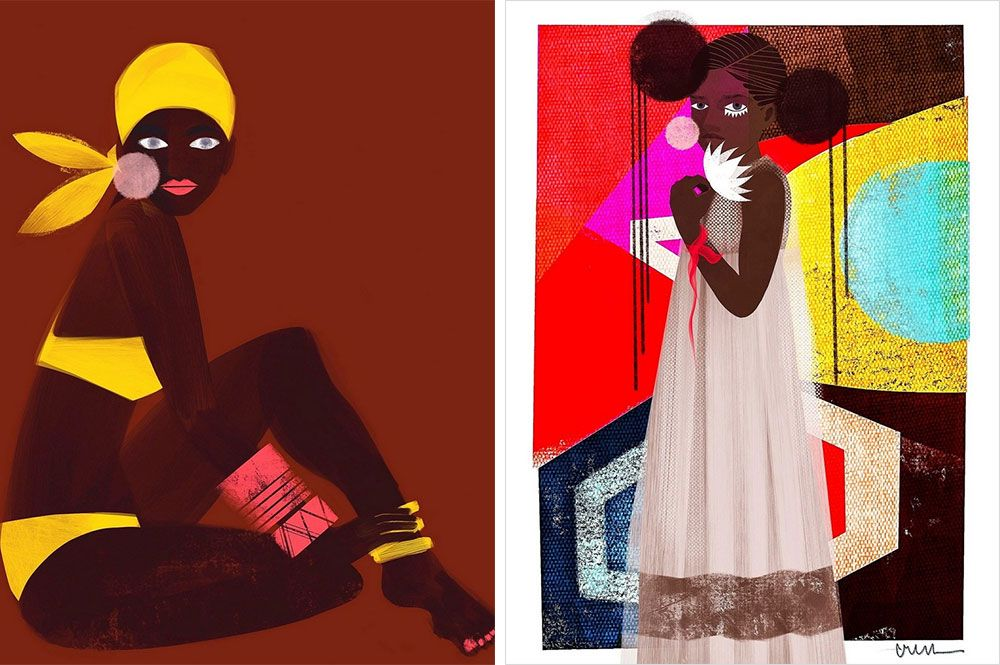 two very bright figurative portraits made through a combination of mixed media and digital painting