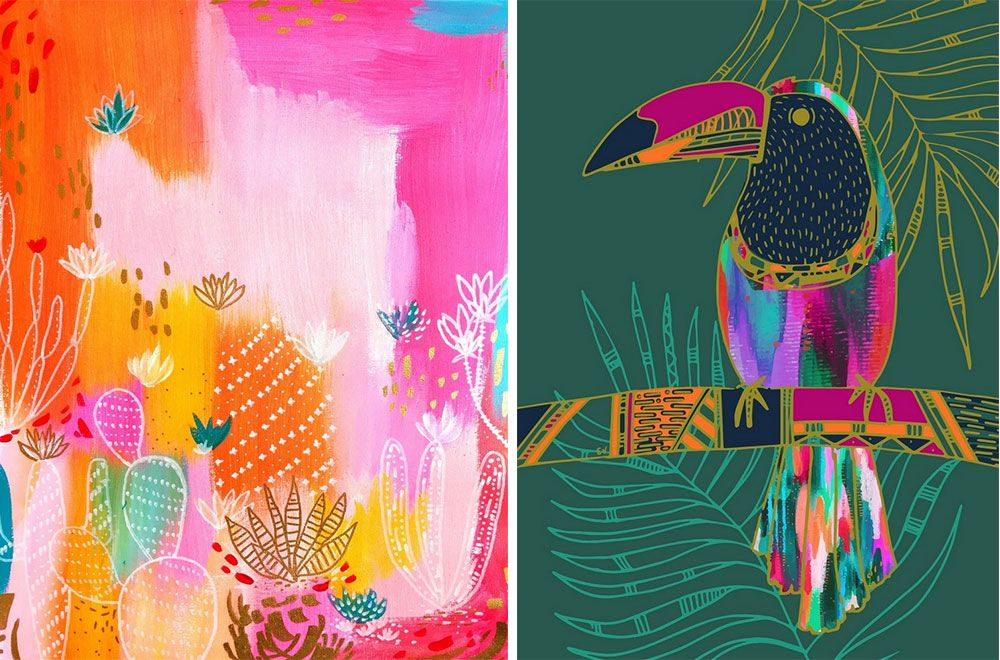 Very bright abstract paintings with cacti and toucan illustrated on top