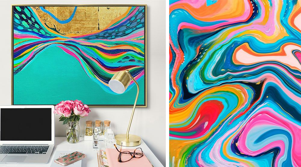 Left: Teal and gold print in a gold frame hung in a office setting. Right: Colorful digital abstract painting primarily in warm colors
