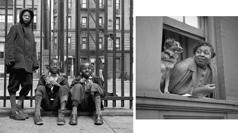 Left: three children waiting on sidewalk Right: woman leaning to look out a window with her dog