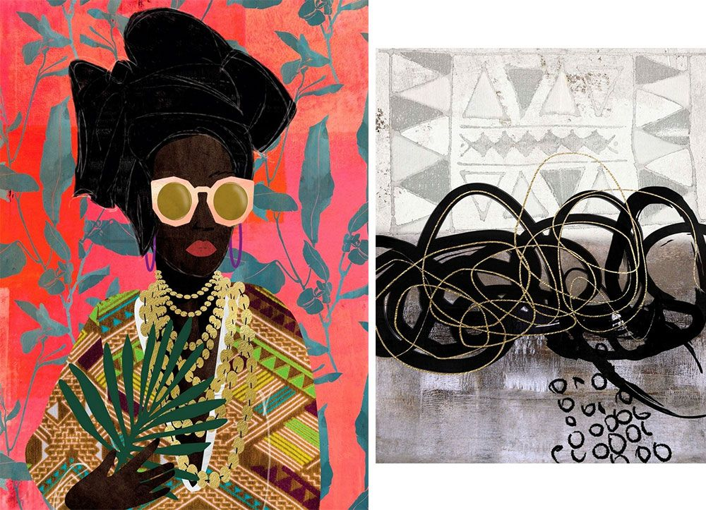 Left: Abstract figure wearing a turban on a brightly colored background Right: Black and gold paint strokes on a geometric background