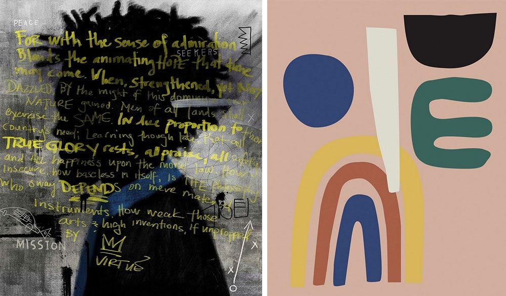 Two side by side modern abstract artworks by artist, Nikki Chu