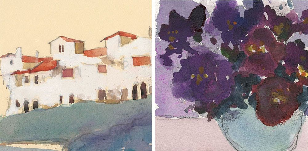 Two abstract watercolors in warm and cool tones suggesting architecture and bouquet of purple flowers