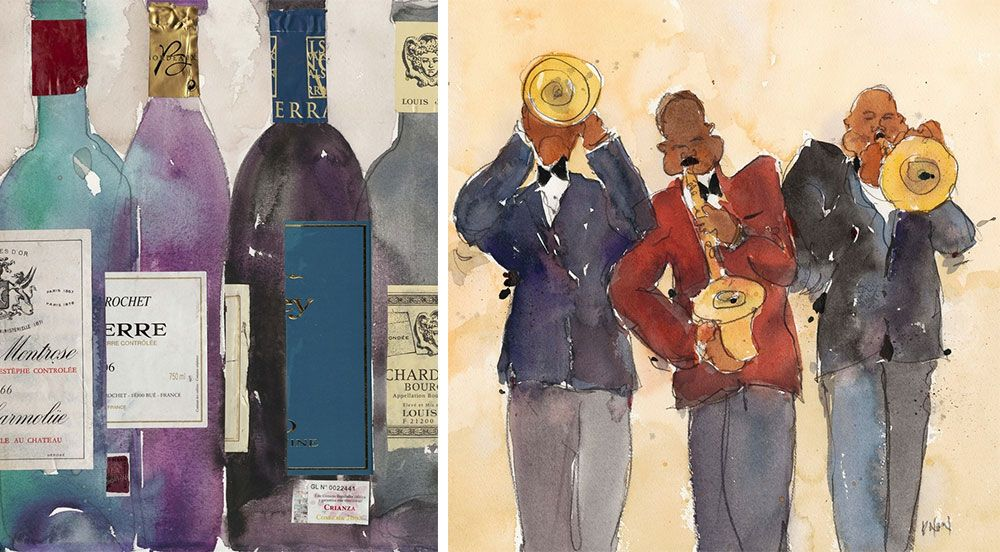 Abstracted watercolor art of wine bottles on the left and three jazz players on the right