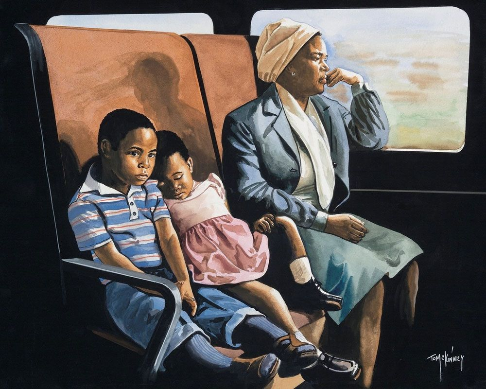 Artwork depicting a black woman and two children riding a train