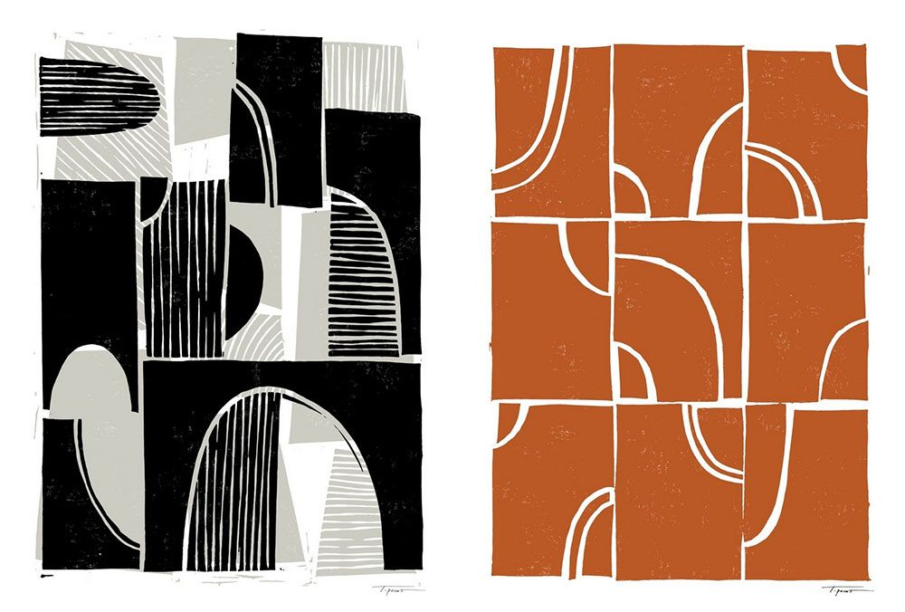 side by side block prints in orange, grays and black