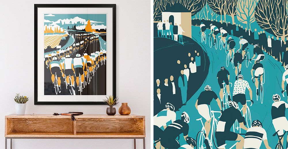 a bright room interior with a framed print hanging on wall of graphic bicycling art