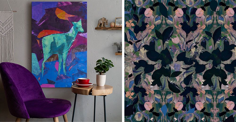 a room interior with jewel toned chair and canvas print hanging on wall of abstract art