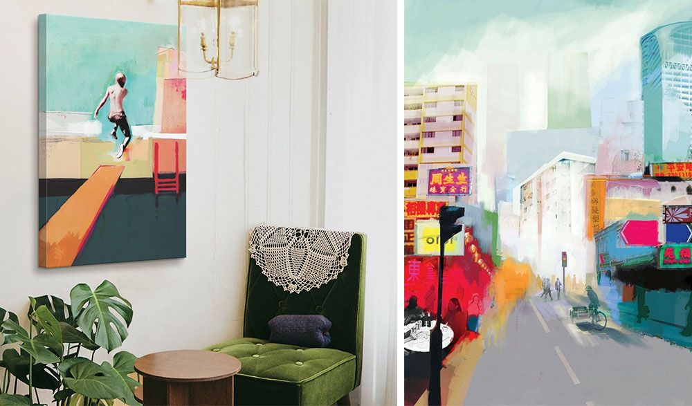 room interior with green décor and brightly colored canvas print hanging on wall