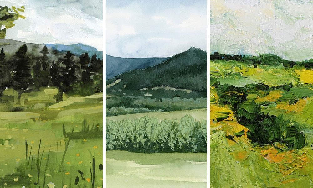three emerald green landscapes in watercolor and acrylic paint