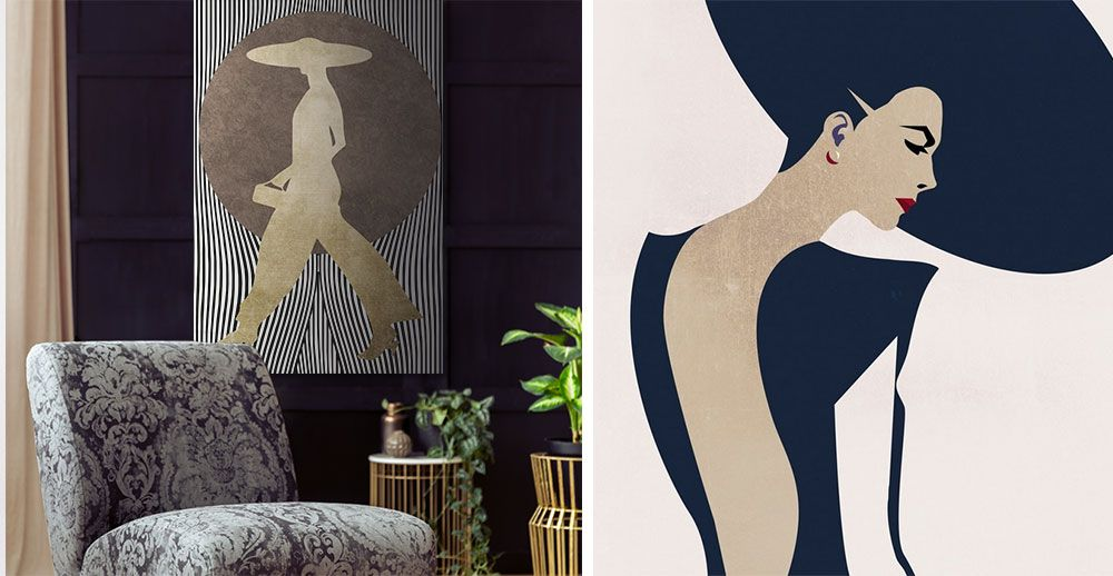 Gold, black and white graphic art canvas print of woman in a dark glam living room.