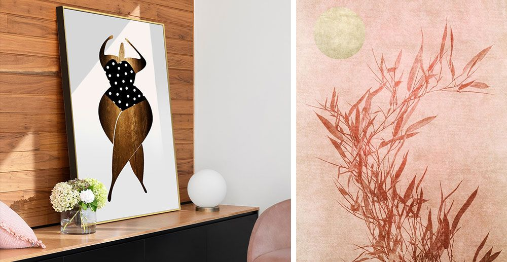 Large print of a abstract woman in a gold float frame leaning on a shelf.