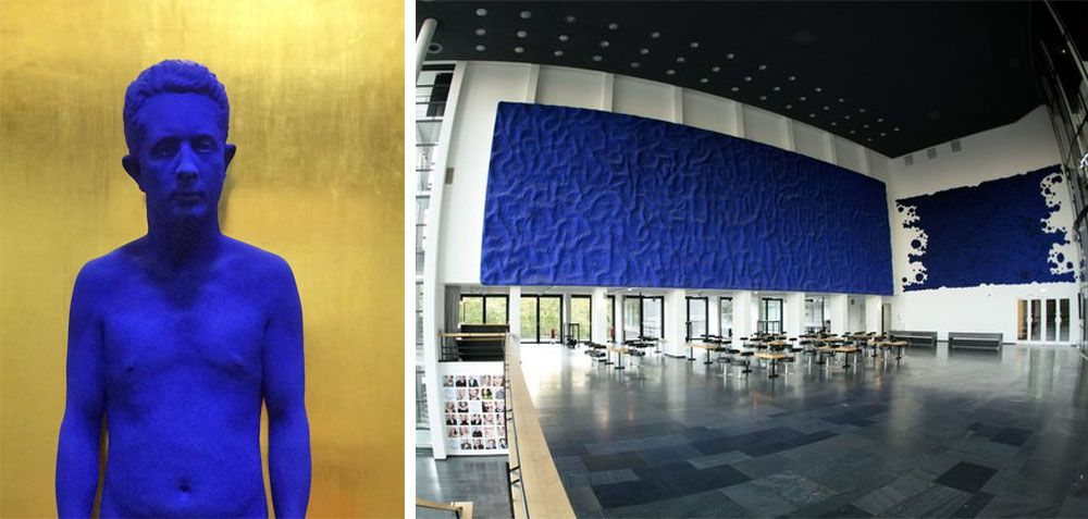 Photographs of two of Yves Klein's work showcased in a museum.