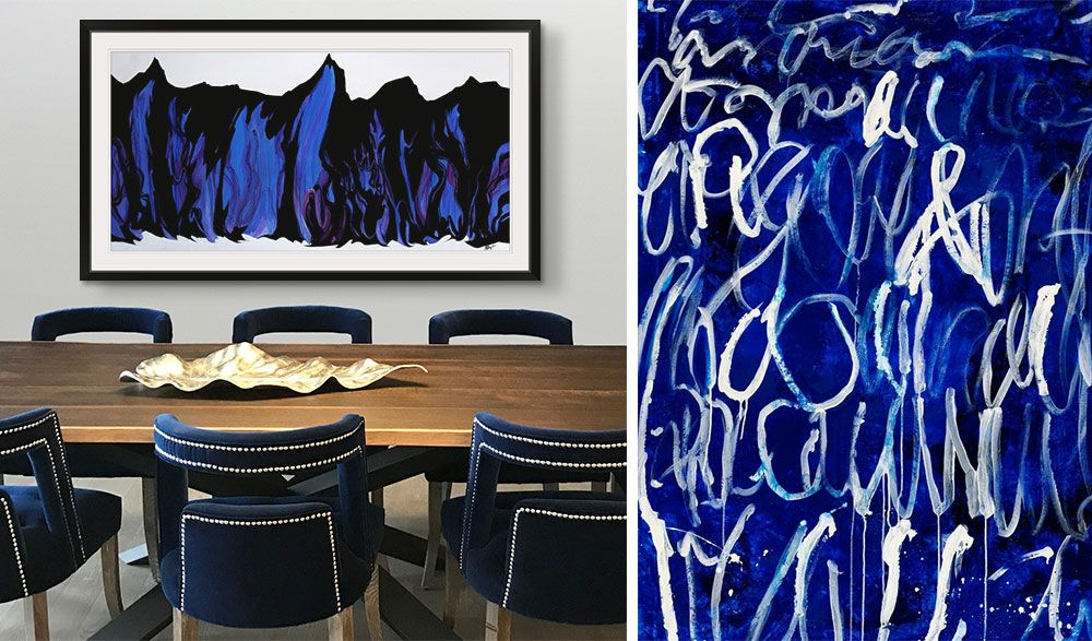 Photograph of IKB Inspired art in a framed print in a modern dining room.