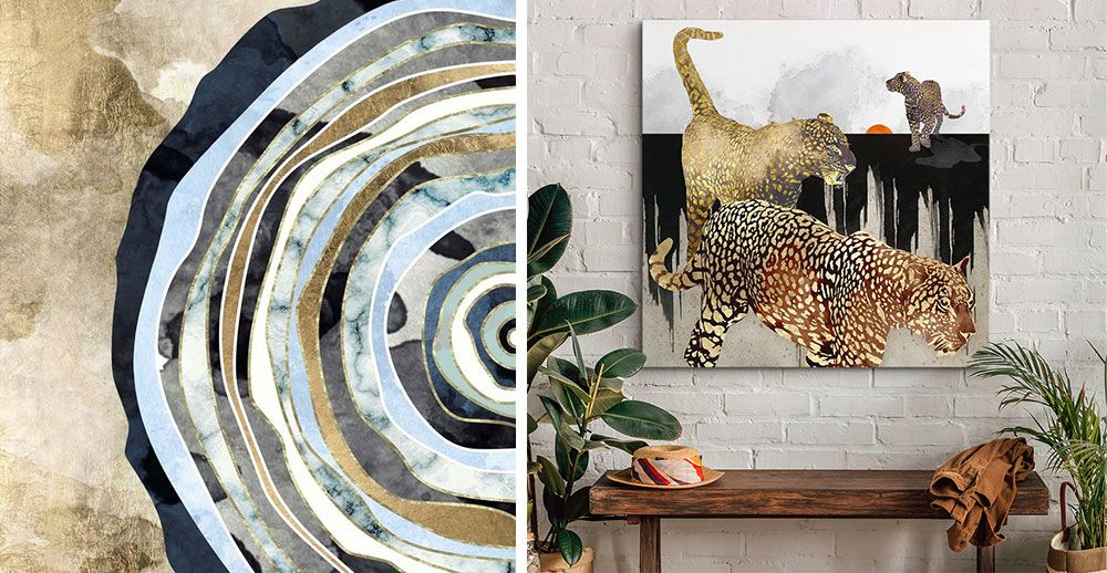 Minimal leopard canvas print on a white brick wall in a bohemian space