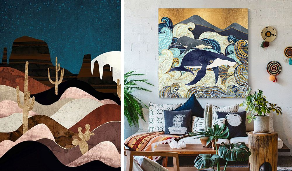 Graphic canvas print of whales over a couch in a light Bohemian living room.