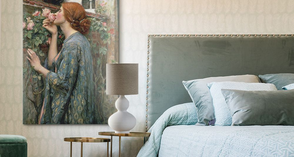 A classic art portrait on canvas in a textured and luxurious bedroom.