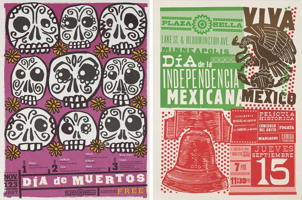 Two advertisement prints portraying different events in a Mexican influenced style.