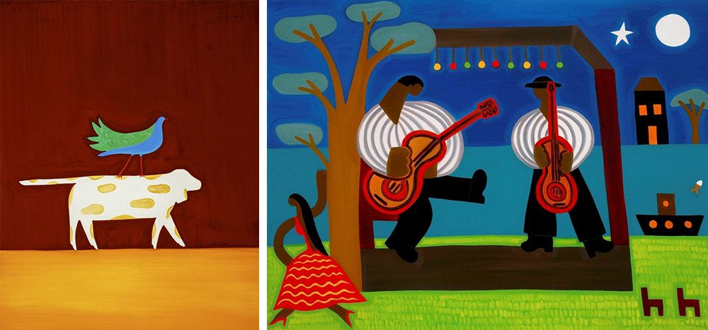 Two abstracted paintings of everyday life featuring a dog and a musicians.