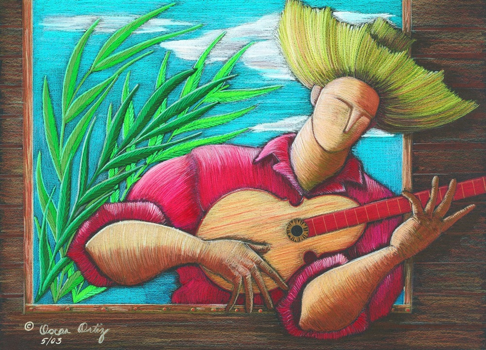 Soft and colorful portrait of a man playing a guitar.