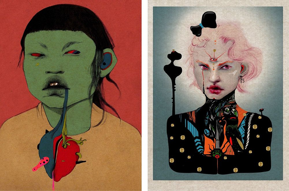 Two Surrealist Portraits of in bold colors by Arassay Hilario