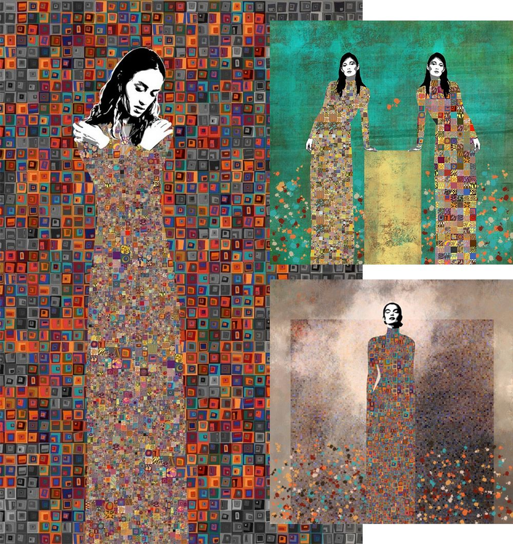 Collage of Three Klimt-inspired portraits of women by artist Jose Cacho