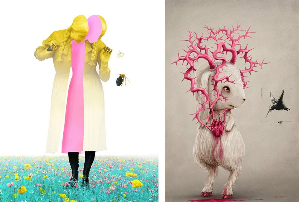 Two pieces of surrealist art by artist Ruben Carrasco