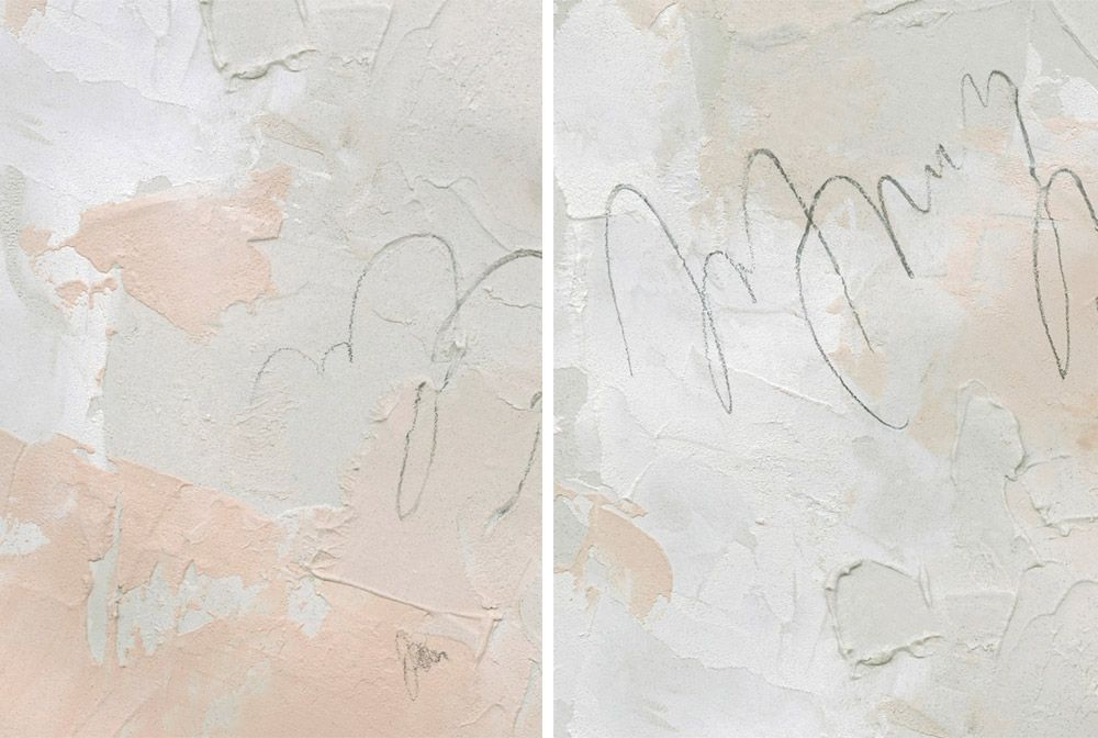 Pale pink and cream colored abstract wall art with chunky brushstrokes
