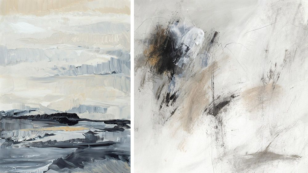 side by side abstract wall art prints with a full range of contrast