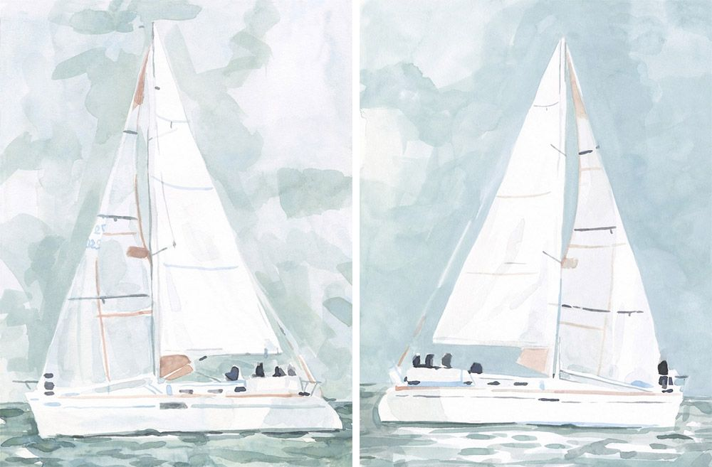 side by side wall art prints depicting sailboats in a blue and white color scheme